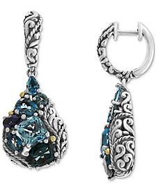 EFFY® Multi-Gemstone Teardrop Drop Earrings (7-1/2 ct. t.w.) in Sterling Silver & 18k Gold-Plate