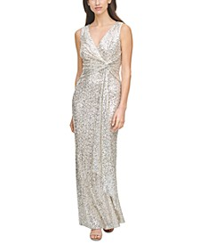 Sequinned Front-Knot Gown
