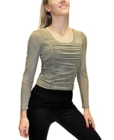 Juniors' Ruched Mesh Puff-Sleeve Top