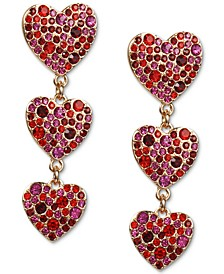 INC Gold-Tone Colored Pave Heart Linear Drop Earrings, Created for Macy's