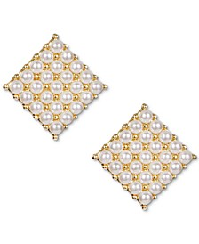 INC Gold-Tone Imitation Pearl Square Stud Earrings, Created for Macy's