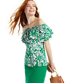 Cotton Printed Off-The-Shoulder Top, Created for Macy's