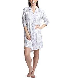 Muk Luks Printed Notch Collar Sleepshirt Nightgown