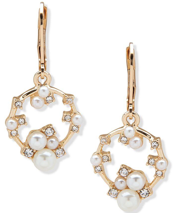 Anne Klein - Gold-Tone Imitation Pearl & Crystal Drop Earrings