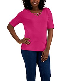 Cotton V-Neck Hardware Top, Created for Macy's