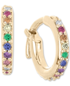 Lab-Created Multi-Gemstone (1/6 ct. t.w.) & Diamond (1/20 ct. t.w.) Extra-Small Hoop Earrings in 18k Gold-Plated Sterling Silver