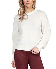 Textured Imitation-Pearl Sweater