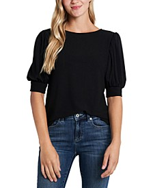 Puff-Sleeve Knit Top