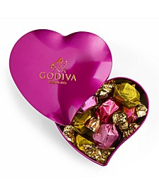Valentine's Heart Tin Chocolate Box, 12-Pieces