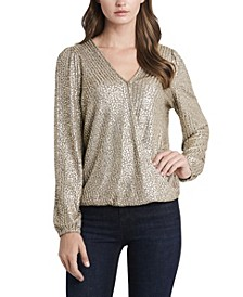 Women's Plus Size Foldover Front Foil Ribbed Jersey Top