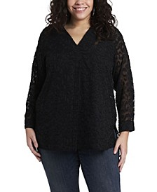 Women's Plus Size Long Sleeve V-Neck Jacquard Tunic
