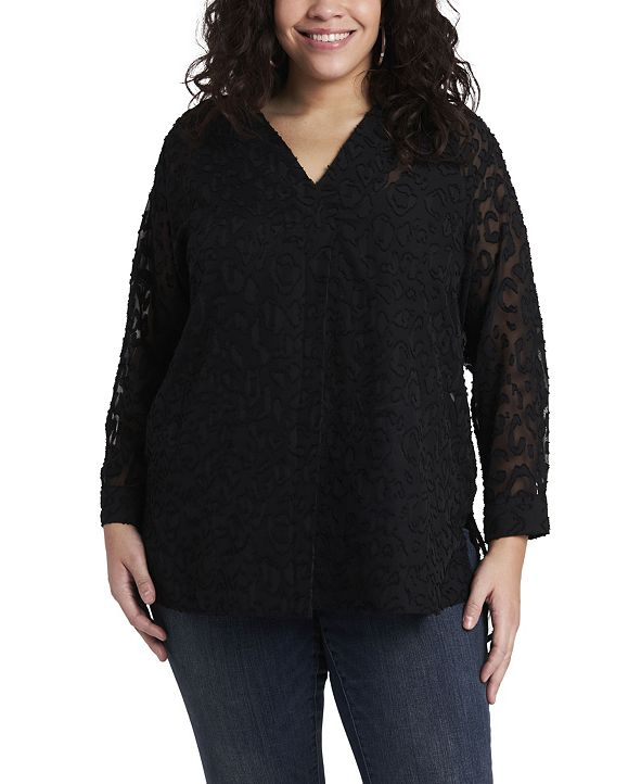 Vince Camuto Women's Plus Size Long Sleeve V-Neck Jacquard Tunic