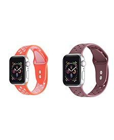 Unisex Coral Pink and Brown Breathable Silicone 2-Pack Replacement Band for Apple Watch, 38mm
