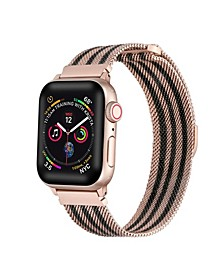 Unisex Rose Gold Tone Striped Stainless Steel Replacement Band for Apple Watch, 42mm