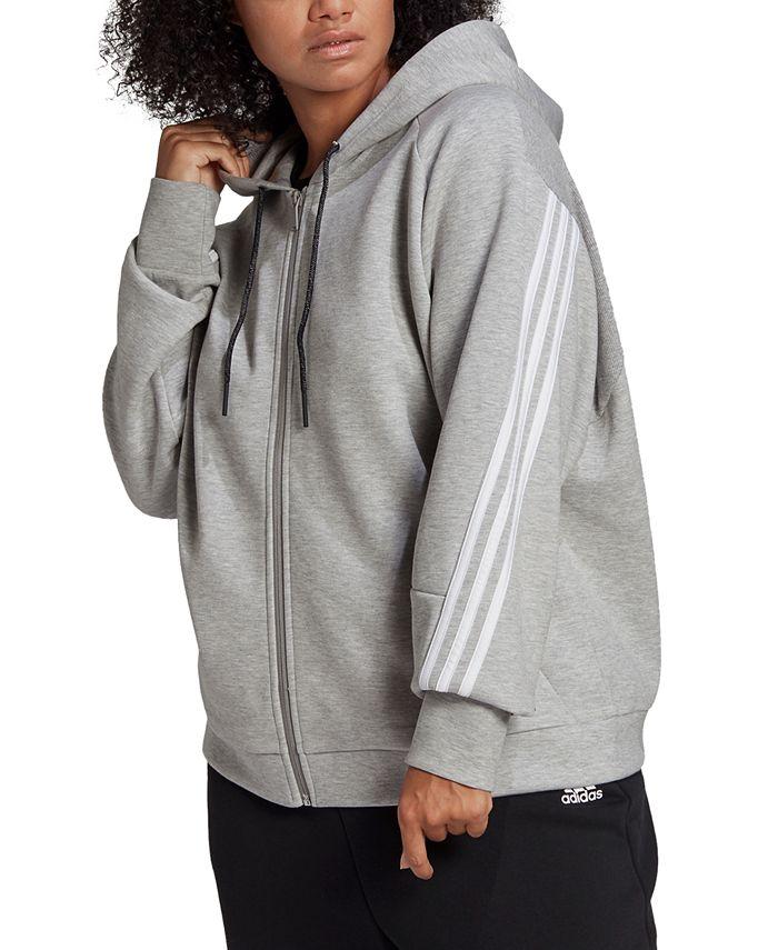 adidas - Plus Size Full-Zip 3-Stripe Hoodie