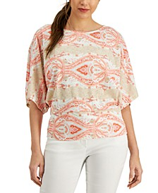 Petite Printed Textured Top, Created for Macy's