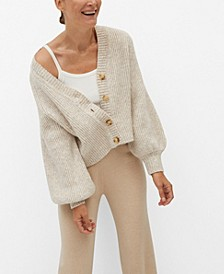 Women's Buttoned Ribbed Cardigan