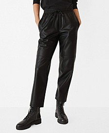 Women's Leather-Effect Elastic Waist Trousers
