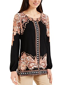 Petite Paisley-Print Stud-Detail Top, Created for Macy's