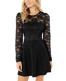 Juniors' Lace-Bodice Fit & Flare Dress