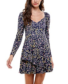 Juniors' Printed Fit & Flare Dress