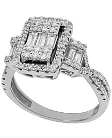 Baguette Diamond Engagement Ring (3/4 ct. t.w.) in 14K White Gold