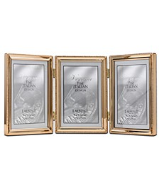 "Polished Metal Hinged Triple Picture Frame - Bead Border Design, 4"" x 6"""