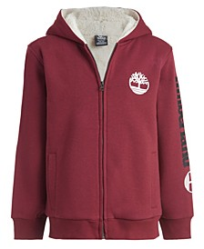 Big Boys Solid Sherpa Lined Zip Hoodie
