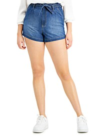 Juniors' High-Rise Pleated Belted Jean Shorts