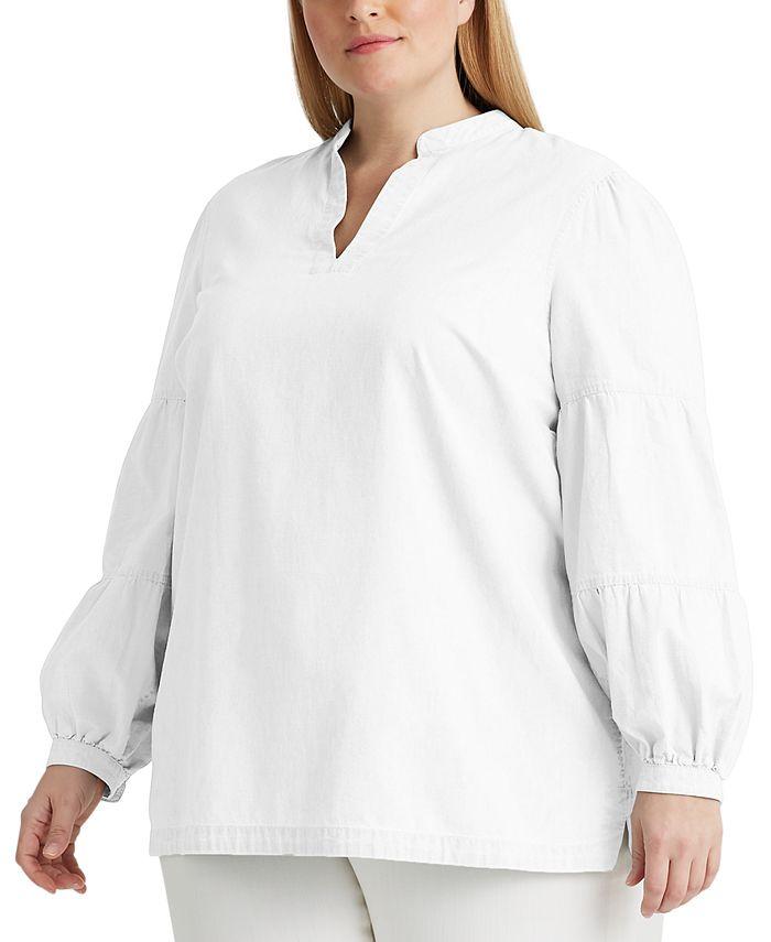 Lauren Ralph Lauren - Plus-Size Cotton V-Neck Top
