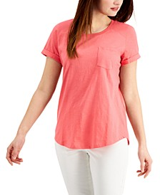 Plus Size Cotton Cuffed-Sleeve T-Shirt, Created for Macy's