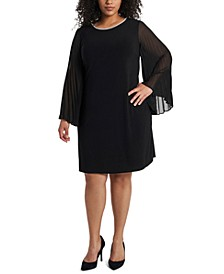 Plus Size Pleated-Sleeve Shift Dress
