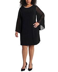 MSK Plus Size Pleated-Sleeve Shift Dress