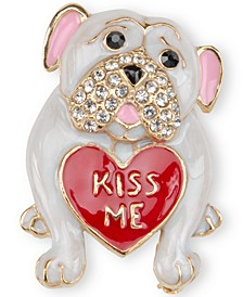 Gold-Tone Pavé Kiss Me Pug Pin, Created for Macy's