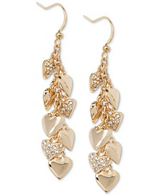 Gold-Tone Pavé Shaky Heart Linear Drop Earrings, Created for Macy's