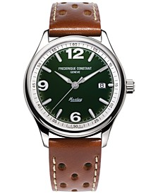 Men's Swiss Automatic Vintage Rally Healey Brown Leather Strap Watch 40mm