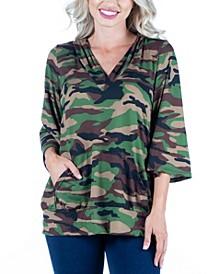 Women's Camo Print Oversized Pocket Hoodie Top