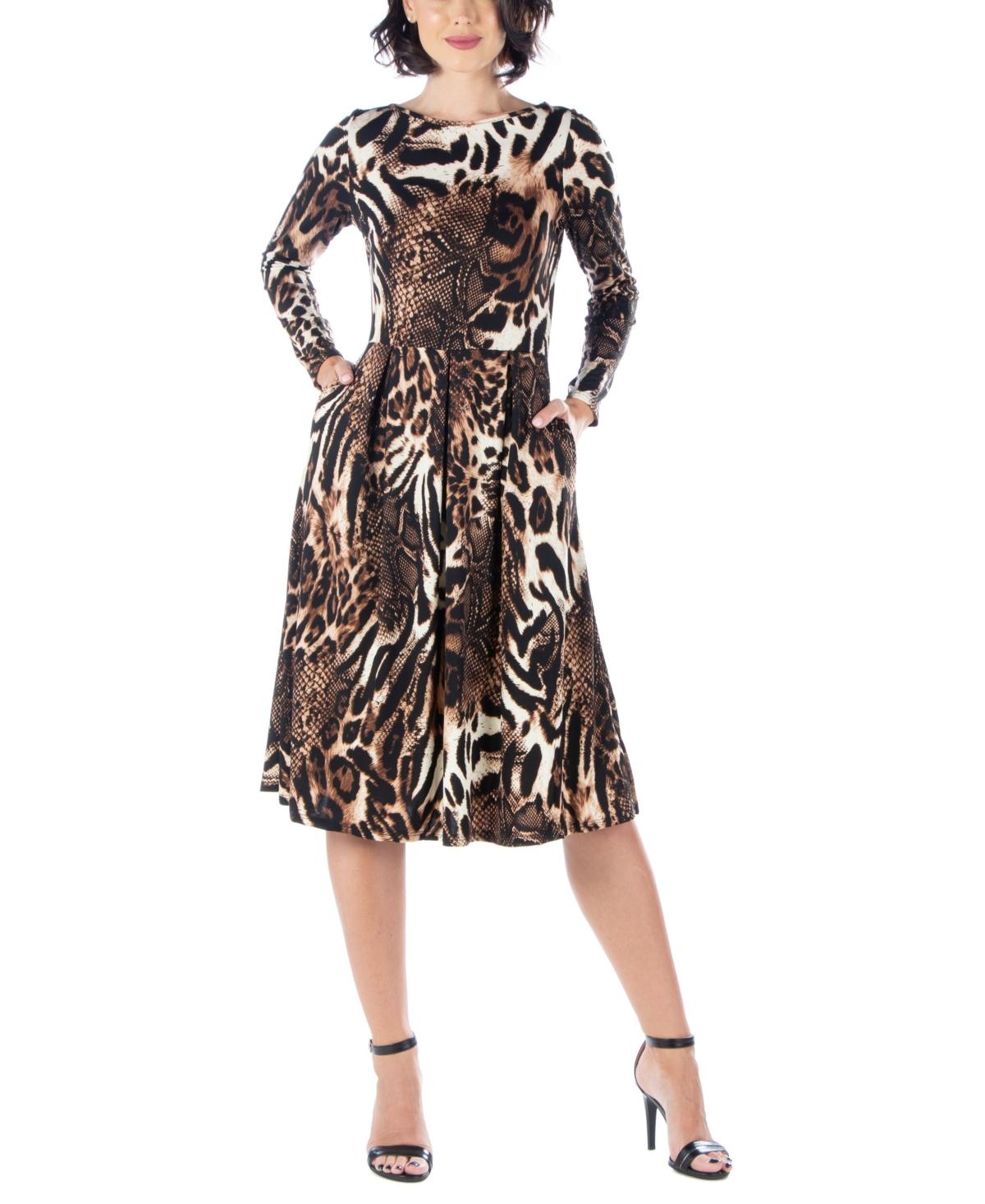 Womens Animal Print Long Sleeve Pleated Midi Dress