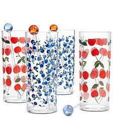 Berry Acrylic Tom Collins Glasses with Stirrers, Set of 4, Created for Macy's
