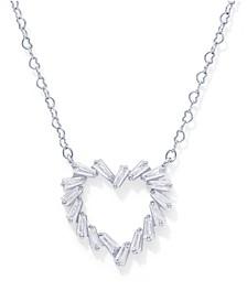 Cubic Zirconia Open Heart Pendant in Fine Silver Plate