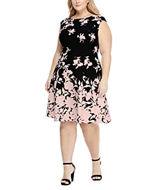 Plus Size Scuba-Crepe Floral-Print Fit & Flare Dress