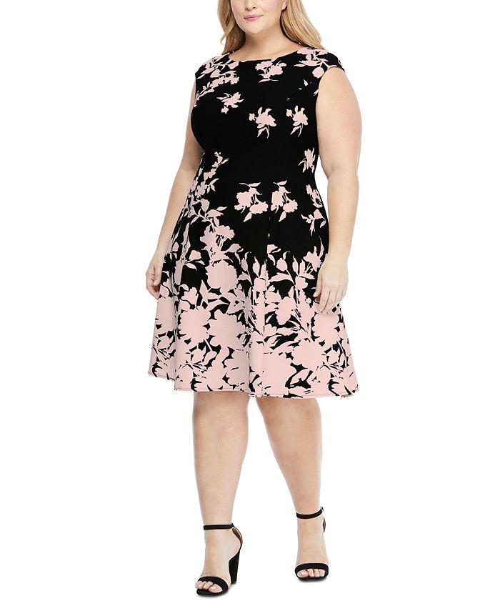 London Times - Plus Size Scuba-Crepe Floral-Print Fit & Flare Dress