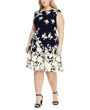 London Times Dresses PLUS SIZE SCUBA-CREPE FLORAL-PRINT FIT & FLARE DRESS