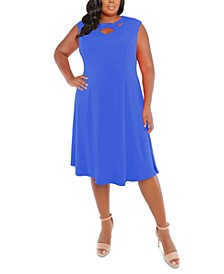 Plus Size Cross-Neck Fit & Flare Dress