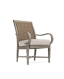 Winston Grayson Wicker Outdoor Dining Arm Chair with Outdura® Remy Sand Cushion, Created for Macy's