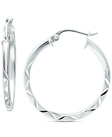 "Small Textured Hoop Earrings in Sterling Silver, 1"", Created for Macy's"