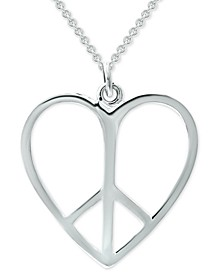 """Peace Sign Heart 18"""" Pendant Necklace in Sterling Silver, Created for Macy's"""