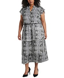 Trendy Plus Size Printed Tiered Fit & Flare Dress