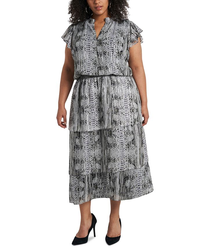1.STATE - Trendy Plus Size Printed Tiered Fit & Flare Dress