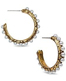 """Gold-Tone Medium Imitation Pearl C-Hoop Earrings, 1"""""""